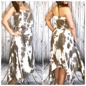 NEW!!!OLIVE TYE DYE Strapless Midi Maxi Dress